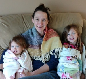 Maggie, Phoebe, Cambria with blankies, May 2016