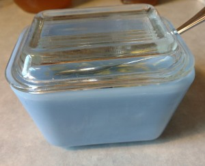 Our blue Pyrex butter dish