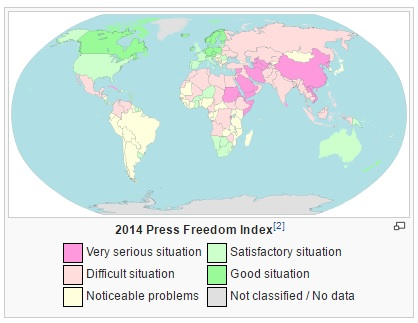 2014 Press Freedom map, wikipedia