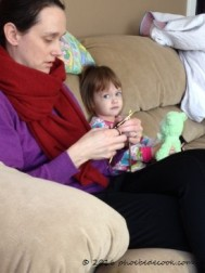 Phoebe Knitting Green Bear's Sweater, Jan 2015